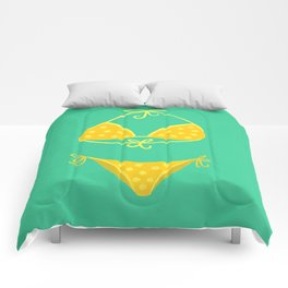 Yellow Polka Dot Bikini on Mint Comforters