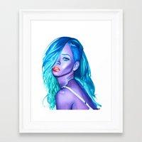 rihanna Framed Art Prints featuring rihanna by Stella Joy