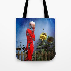 Red Robot visits the Sunflower Garden Tote Bag