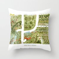 vegetable Throw Pillows featuring Vegetable Garden by Aidan Meighan