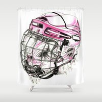 hockey Shower Curtains featuring Hockey mandrill  by Detullio Pasquale