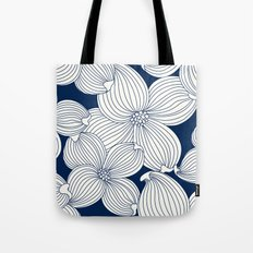 Dogwood Big Linear Floral: Navy Ivory Tote Bag