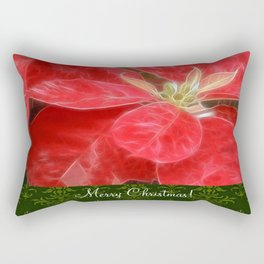 Mottled Red Poinsettia 1 Ephemeral Merry Christmas S6F1 Rectangular Pillow