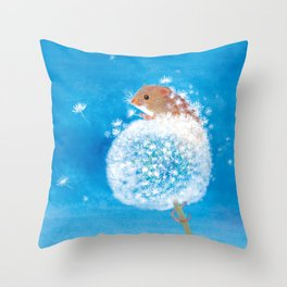 Harvest mouse on the Dandelion Throw Pillow