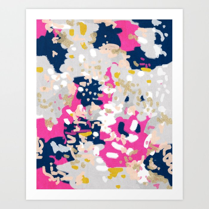 Michel - Abstract, girly, trendy art with pink, navy, blush, mustard for cell phones, dorm decor etc Art Print