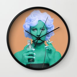 Pop art lady smoking and drinking green skin and orange background Wall Clock