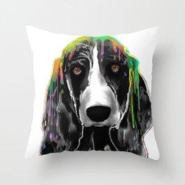 Basset Hound BW Throw Pillow