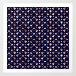Royal Blue & Rose Gold Crown Pattern Art Print