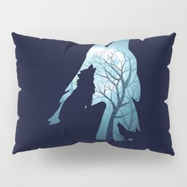 Blue moon and wolf howling Pillow Sham