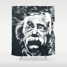 E=mc^2 Albert Einstein Graffiti (Monochrome) Shower Curtain
