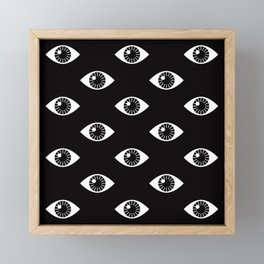 EYES WIDE OPEN ON BLACK Framed Mini Art Print