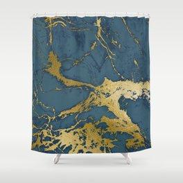 Blue Azul Marble Shower Curtain