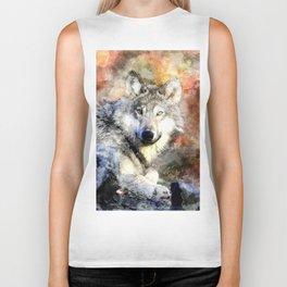 Wolf Animal Wild Nature-watercolor Illustration Biker Tank