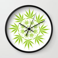 cannabis Wall Clocks featuring Cannabis Leaf Circle (White) by The Image Zone