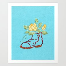 A Rose in a Boot Art Print