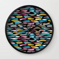 stripes Wall Clocks featuring Stripes by Meryl Pardoen