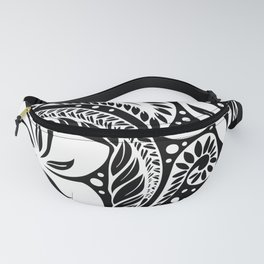 Circular Polynesian White Floral Tattoo Fanny Pack