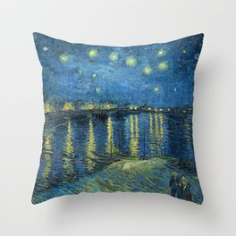 Starry Night Over the Rhône by Vincent van Gogh Throw Pillow