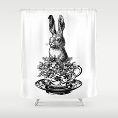 Rabbit in a Teacup   Black and White Shower Curtain