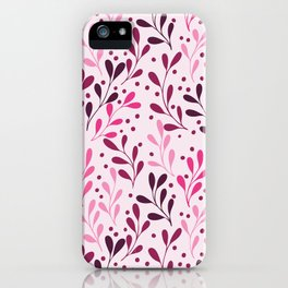 pink,magenta and lili abstract seaweed plants seamless pattern iPhone Case