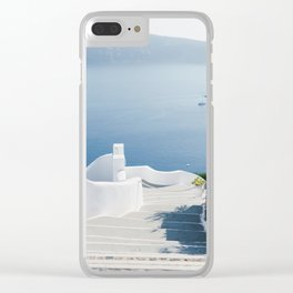 Santorini Stairs I (Vertical) Clear iPhone Case