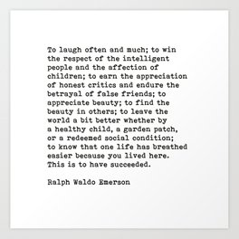 To Laugh Often And Much, Success, Ralph Waldo Emerson Quote. Art Print