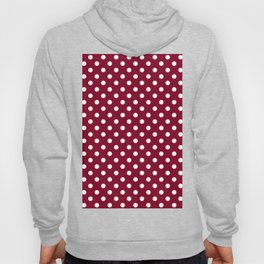 Small Polka Dots - White on Burgundy Red Hoody