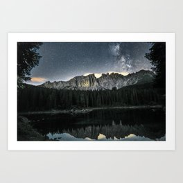 Milky Way and Mountains in the Italian Dolomites Art Print