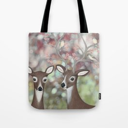 white tailed deer, warbling vireos, & cherry blossoms Tote Bag