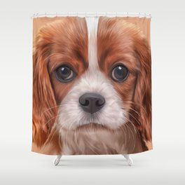 Drawing Cavalier King Charles Spaniel Shower Curtain