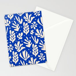 matisse pattern with leaves in blu Stationery Cards