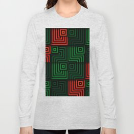 Red and green tiles with op art squares and corners Long Sleeve T-shirt