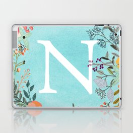 Personalized Monogram Initial Letter N Blue Watercolor Flower Wreath Artwork Laptop & iPad Skin