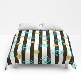 A festive mood. Striped background black and white with blue fireworks and Golden peas . Comforters