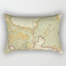 A chart of the SOUTH SEA Texel and Flieftream with Amelander gat Rectangular Pillow