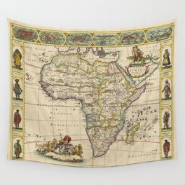 Vintage Map of Africa (1660)  Wall Tapestry