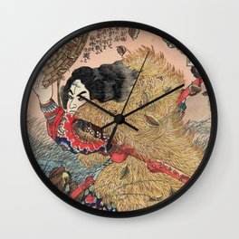 Samurai Japanese Woodblock Print by Utagawa Kuniyoshi Wall Clock