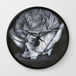 rosy skull Wall Clock