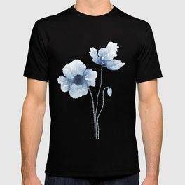 Blue Watercolor Poppies T-shirt