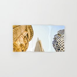 pyramid building and modern building and vintage style building at San Francisco, USA Hand & Bath Towel