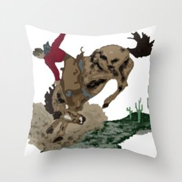 Retro Bronc and Cowboy Throw Pillow