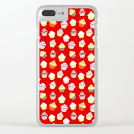 Dark Red Valentines Cup Cakes Clear iPhone Case