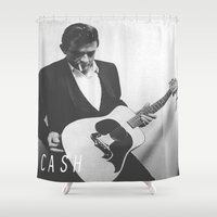 johnny cash Shower Curtains featuring Johnny Cash II by Earl of Grey