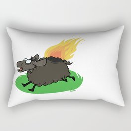 Flaming Sheep (Black) Rectangular Pillow