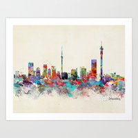 south africa Art Prints featuring Johannesburg South Africa skyline by bri.buckley