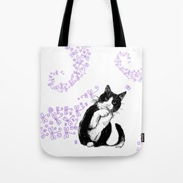 Tuxedo cat and dragonflies Tote Bag