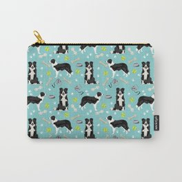 Border Collie tennis ball cute pet portrait by pet friendly dog patterns dog breed gifts Carry-All Pouch