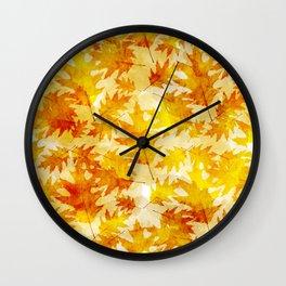 Autumn Oak Leaves Pattern Wall Clock