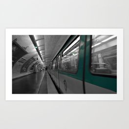 paris metro black and white with color Art Print