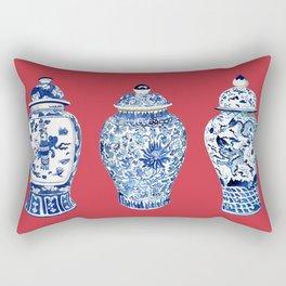 GINGER JAR TRIO ON RED Rectangular Pillow